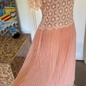 Vintage handmade lace and sheer pleat Dress